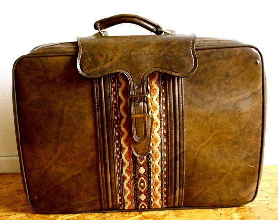 Vintage Bohemian Leather Suitcase, Etsy by EbbandFlowLA