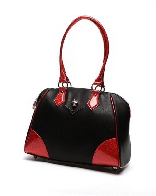 Lux De Ville Elvira Chevron Matte Venom Red Sparkle Tote Handbag Purse ELC559BVR