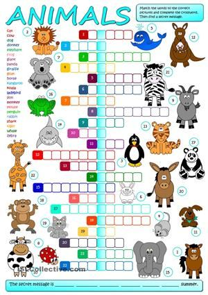 A crossword to practise the names of animals. Students have to match the words to the correct pictures and complete the crossword, then find a secret message. Greyscale and KEY included. Have fun mada :) - ESL worksheets