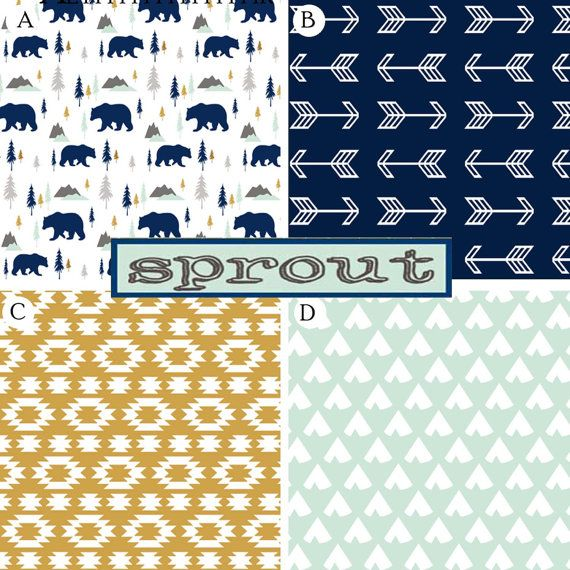 Nursery Bedding Crib Bedding Baby Boy Bedding Woodland Aztec Arrows Tribal Navy Gold Mint Bears Moutains Gray Gender Neutral