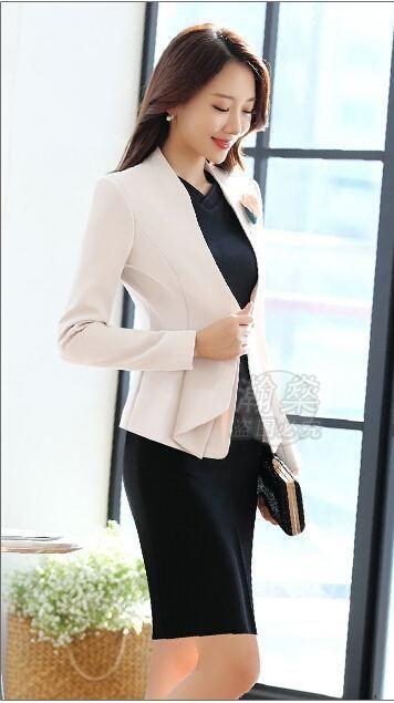 b045bbe283 New Women's Dress Suits Summer Spring Elegant Solid Slim Formal Long-sleeve  Blazer + Dress Sets Business Work Female