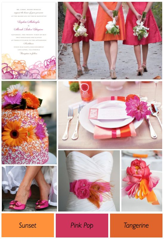 Sunset, pink pop, tangerine wedding