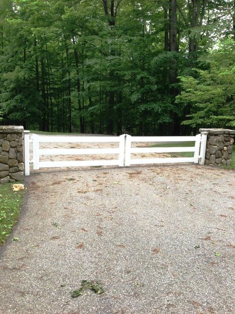Wood 3-Rail Post and Rail Automated Entry Gate