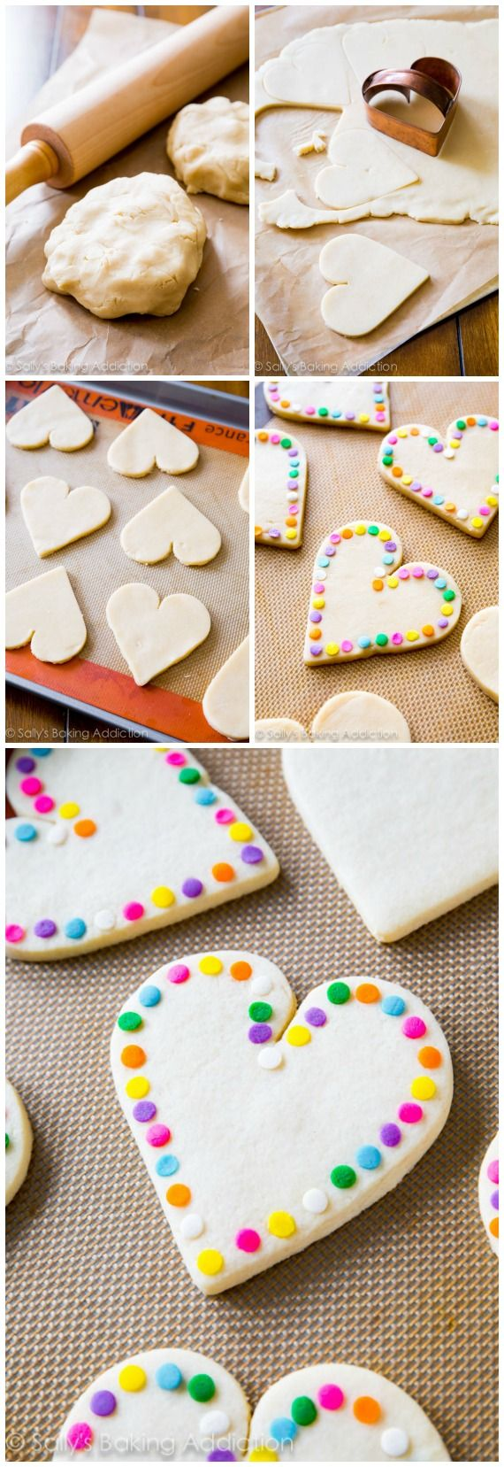 Soft Cut-Out Sugar Cookies lined with rainbow sprinkles. These are the BEST!