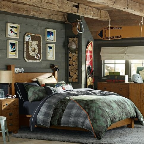 Burton themed room. notice the wooden trim and frames bring it up to a classier vs sporty look. Burton Snowboard Jacket Duvet Cover + Sham | PBteen