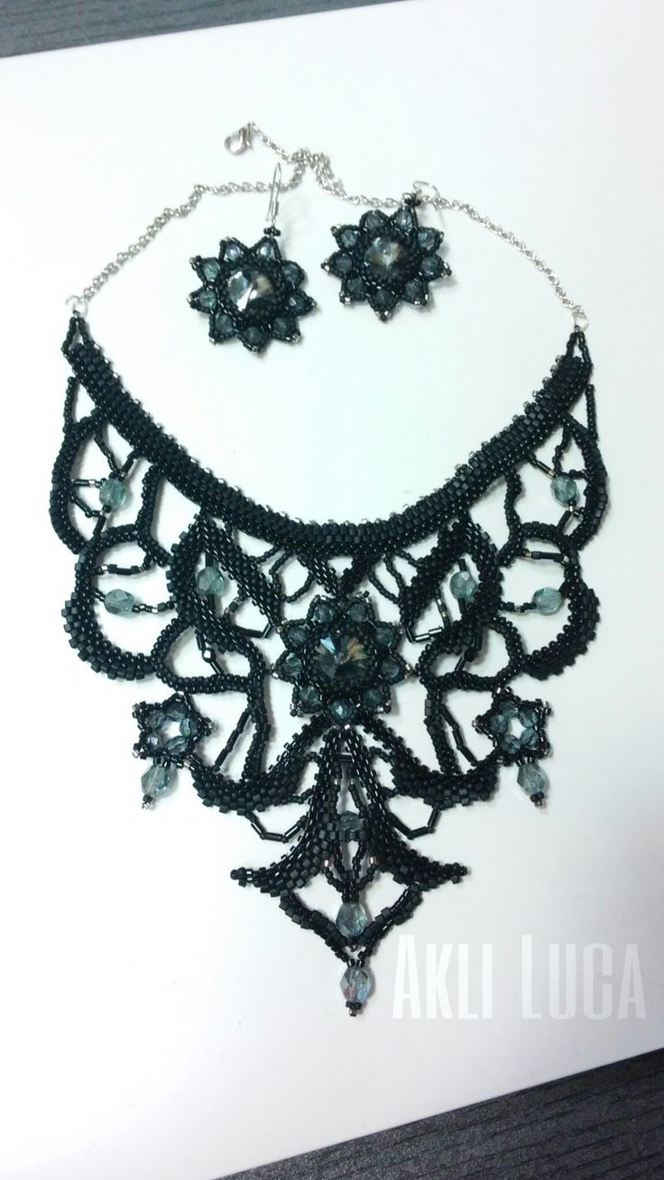 #big #black #necklace #swarovski #beads #miyuki #peyote #myidea #madebyme #iloveit