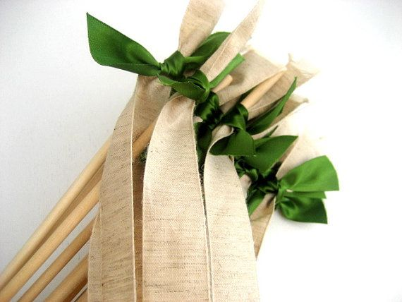 50 Wedding Wands Rustic Jute Ribbon with Satin by www.katekatenyc.etsy.com, $50.00