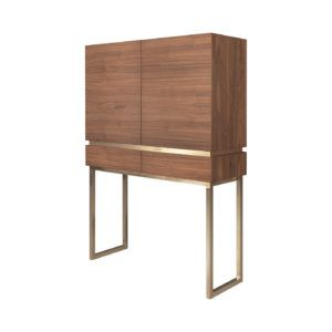 Cannes Bar Cabinet   Dining Room Decor    Laskasas   Decorate Your Life   Elegant bar cabinet made in walnut wood veneer with a golden border and legs.   Discover more solid wood furniture and mid-century design decor ideas and inspirations