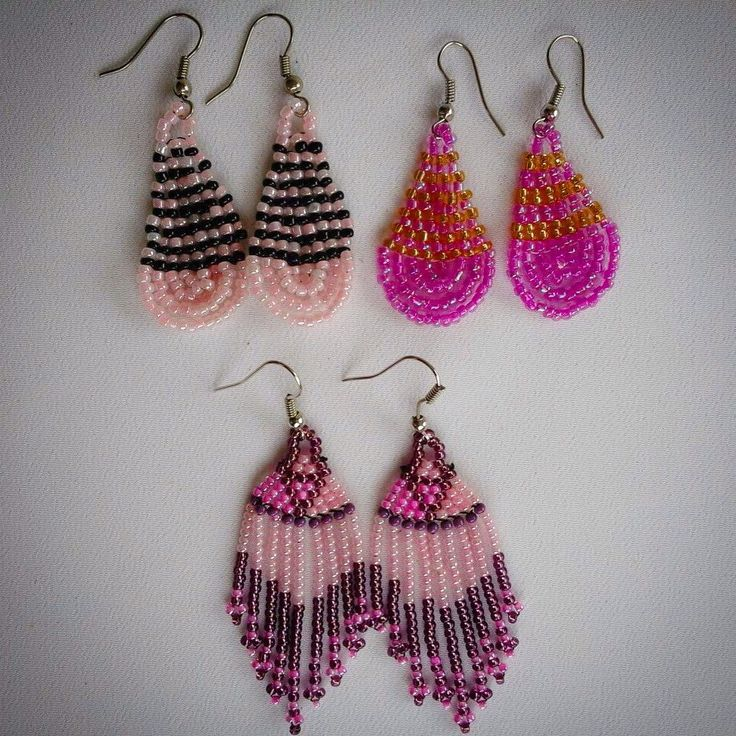 Pink beaded African earrings