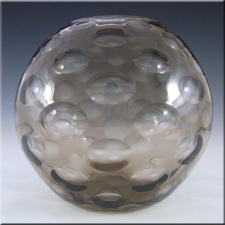 Borske Sklo Large Smokey Glass Optical 'Olives' Globe Vase - £39.99