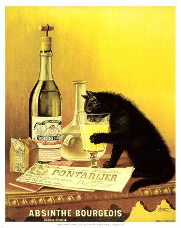 Vintage Posters, Picture-Black Posters, Chat Noir, Absinthe Bourgeois, Art, Prints, Kitty, Blackcat, Black Cat