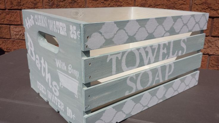 """WOOD CRATE/GIFT BASKET/BRIDAL SHOWER/WEDDING GIFT/COTTAGE/BATHROOM STORAGE/BEACH TOWEL STORAGE THIS CRATE IS SOLD EXACTLY HOW IT IS. IT HAS BEEN HAND PAINTED AND SEALED WITH AN INDOOR SEALANT. I do restock this item as it is made to order. MEASUREMENTS: 12"""" X 18""""  9"""" DEEP SHIPPING: This item is ready to ship within 1-3 business days. Shipping is expedited taking 3-5 business days for arrival in Canada and 5-7 business days for arrival in the Unit..."""