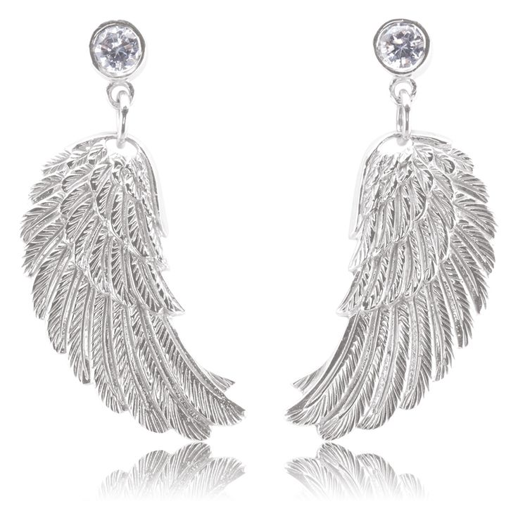 Wing earrings small with angel wings  $120.00 Click to open. Earrings made of rhodium plated 925 sterling silver with white cubic zirconia. Rhodium plating is an excellent surface finish