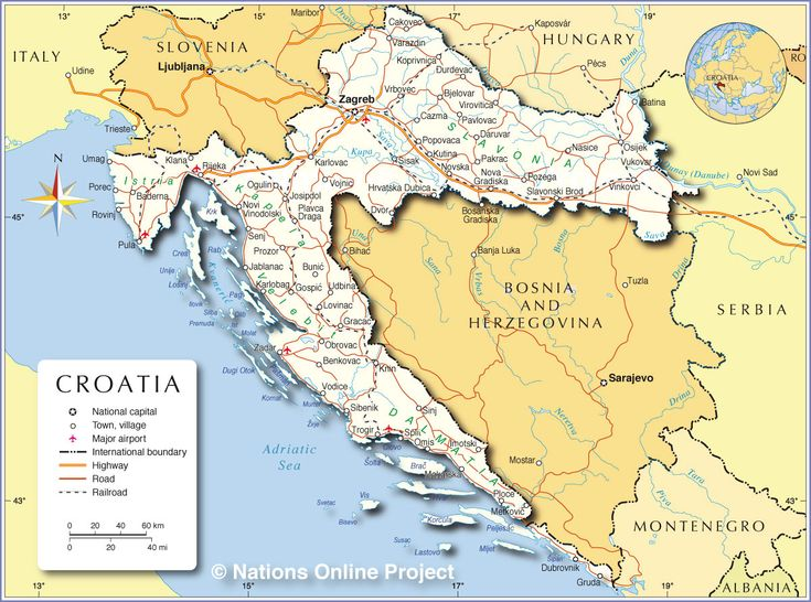 Political Map of Croatia - Cities and Transportation lines  (credits: nationsonline.org)