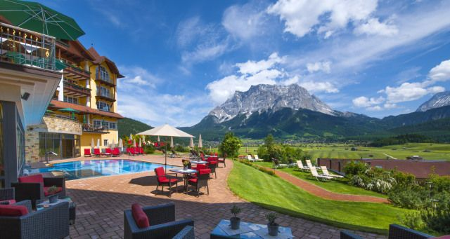 View Of The Zugspitze From The Hotel Post Lermoos
