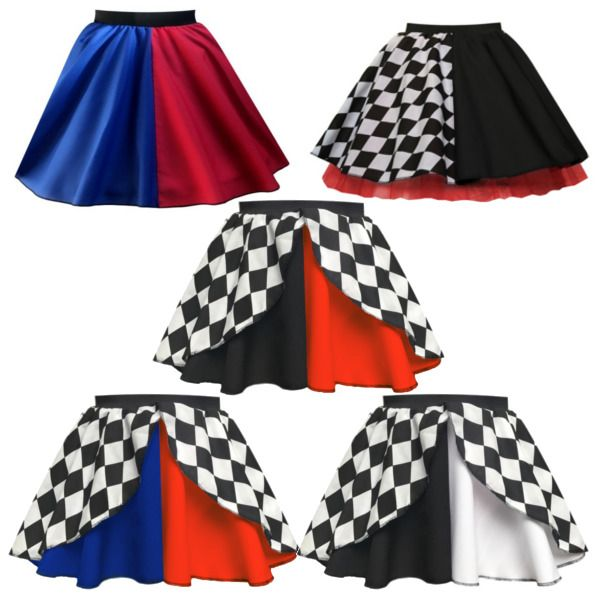 """Harley Quinn Skirt: 17"""" cotton circle skirt made of red half and one blue fabric. On a black elastic waistband for a comfortable fit. Harlequin Skirt: 15"""" cotton circle skirt made up of one black and white checker half, and one black half. 