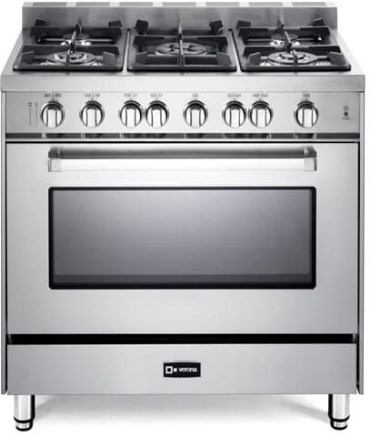 Verona VEFSGG365NSS 36 Inch Pro-Style Gas Range with 5 Sealed Burners, 52,000 BTU Cooktop, 4.0 cu. ft. Turbo-Electric Convection Fan, Infrared Broiler, Wok Ring, Flame Failure Safety, Bell Timer and Storage Drawer: Stainless Steel
