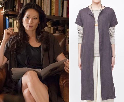 "Elementary season 3, episode 2, ""Five Orange Pipz"" fashion: Click to find out where Joan Watson (Lucy Liu) got her brown/charcoal maxi cardigan #elementary #lucyliu #joanwatson"