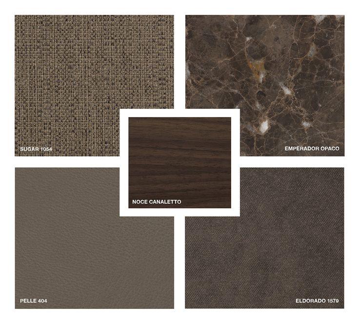Wood: Noce Canaletto Marble: Emperador Mat Leather: Pelle 404 Fabric: Sugar 1054 Velvet: Eldorado 1579
