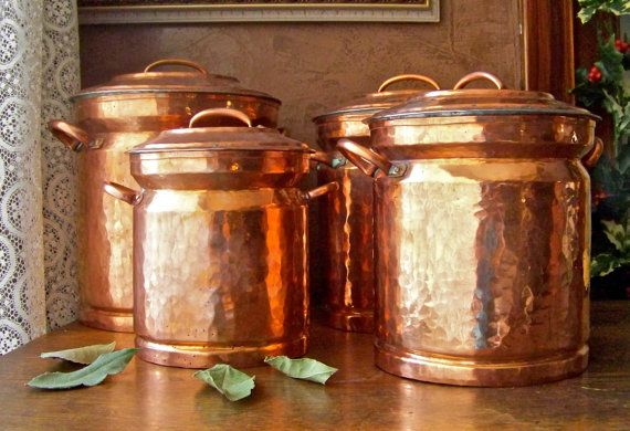 Vintage Turkish Copper Canister Set by cynthiasattic on Etsy