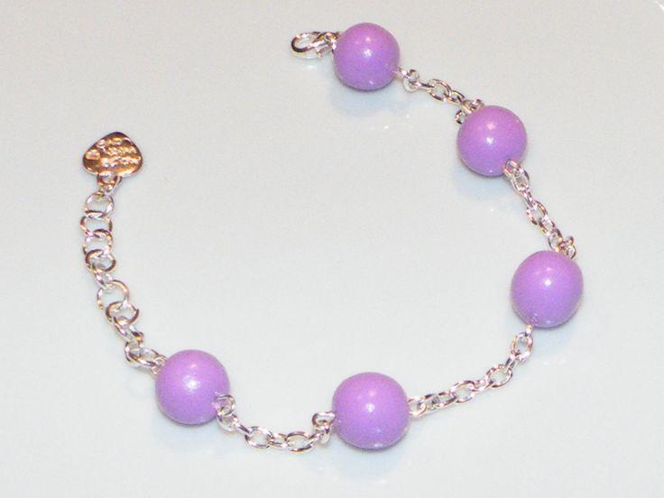 Bracelet perles de fimo couleur lavande : Bracelet par jl-bijoux-creation