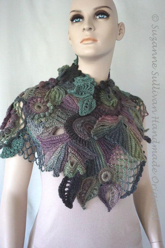 Knitting Wearable Art : Free form crocheted cape wearable art woman s shawl