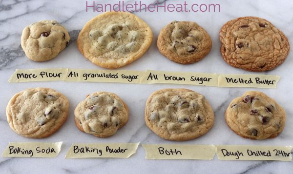 The Ultimate Guide to Chocolate Chip Cookies ~ Says: Ever wondered why chocolate chip cookies can be chewy, crisp, soft, flat, thick, cakey, greasy, bland, flavorful, moist, or crumbly? In this post I'm going to share with you how various ingredients and techniques can affect the taste, texture, and appearance of your chocolate chip cookies. This will hopefully help you understand how chocolate chip cookies work so you can make the PERFECT batch every time, whatever you consider to be…