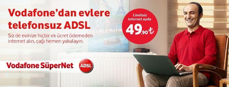 Vodafone yeni kampanyası ile evlere telefonsuz ADSL kampanyasını duyurmaya başladı. Aylık 49,9 TL'ye limitsiz ADSL, 59,9 TL'ye limitsiz fiber internet.