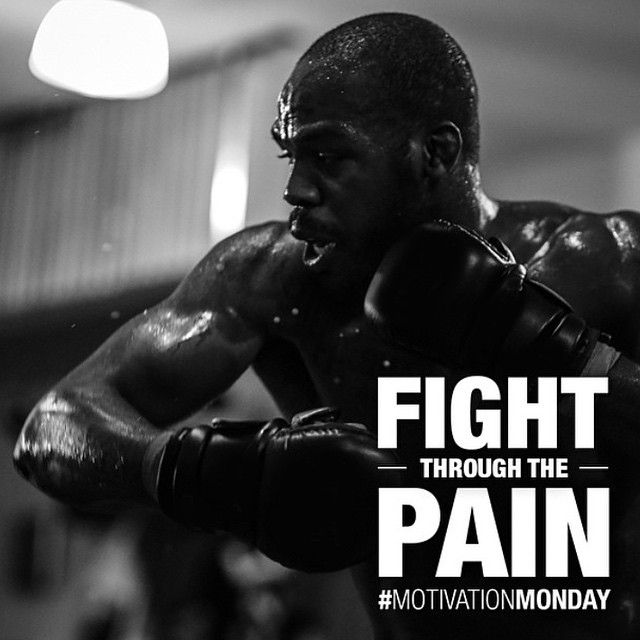 """Fight Through The Pain"" motivational poster w/ champ Jon Bones Jones : if you love #MMA, you will love the #MixedMartialArts and #UFC inspired gear at CageCult: http://cagecult.com/mma"