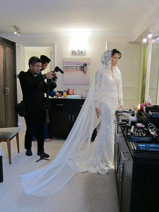 Datin Sabrena Khalid in wedding dress by Innai Red
