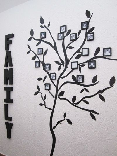 love this for the nursery...: Trees Ideas, Hanging Pictures, Families Pictures, Families Trees Wall, Wall Decals, Cute Ideas, Trees Decals, Families Pics, Kids Rooms