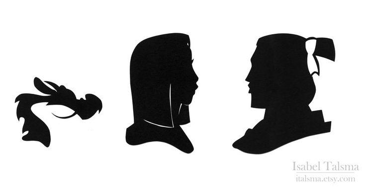 Handcut silhouettes of Mulan, Shang, - 16.0KB
