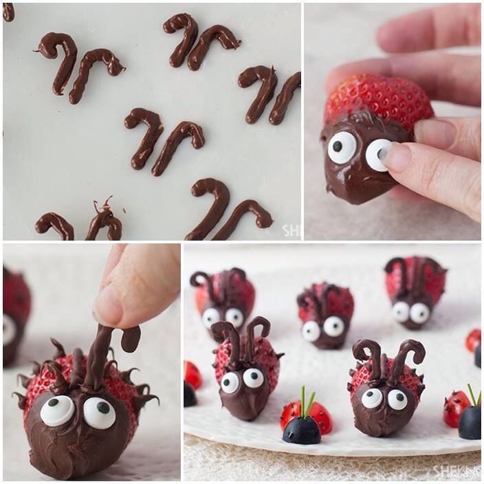 Lady bugs :) Pretzels for the ears, strawberries dipped in chocolate
