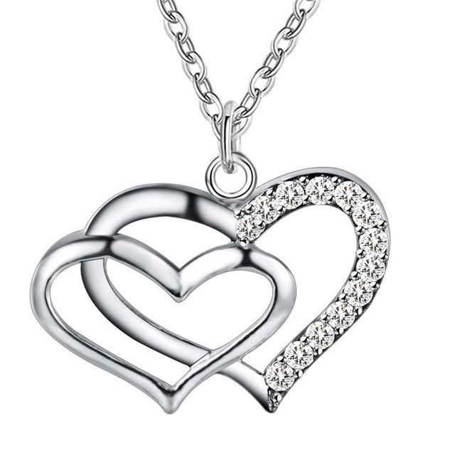 Оптовая посеребренные шарм jewelrys Ожерелье, бесплатная доставка 925 штампованные ювелирные изделия кулон маленькие и большие сердца AN106