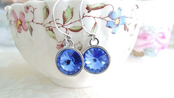 Sapphire Blue Swarovski  Dangles Bridal by WildGardenDesigns, $16.00