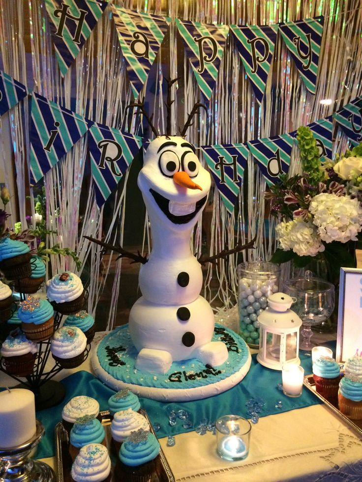 My Frozen Party Olaf Cake Cupcakes Flowers Vases Dollar Tree Candles 99 Cents Store