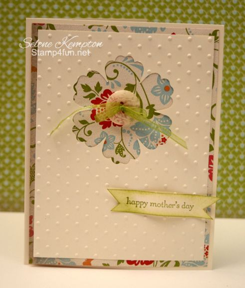 Mothers' Day loveliness: Flower Card, Su Card, Mothers, Stampin Up, Card Making, Card Ideas, Cut Flower