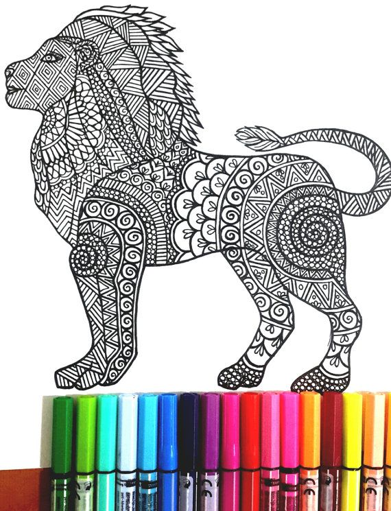 lion colouring page for grown ups perfect for those who like coloring pages and more complex work with many colors its color therapy - Coloring Pages Tigers Lions