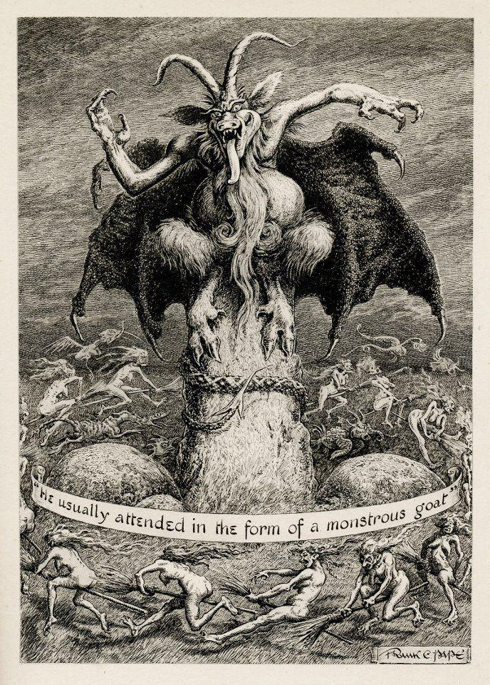 """""""Solía asistir en la forma de una cabra monstruosa"""". Ilustración de Frank C. Papé para The Dark One. http://iglesiadesatan.com/"""
