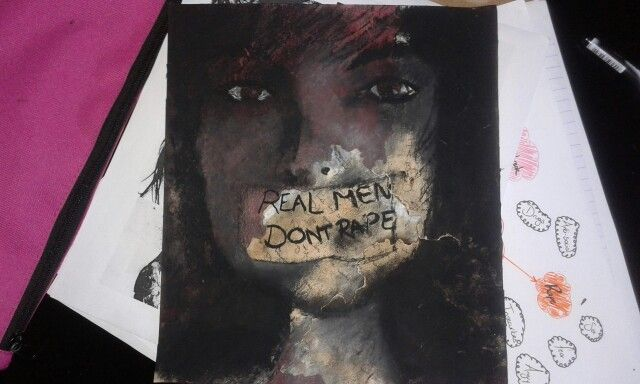 Charcoal and paint artwork with burnt paper.  Topic: emotional drama-rape