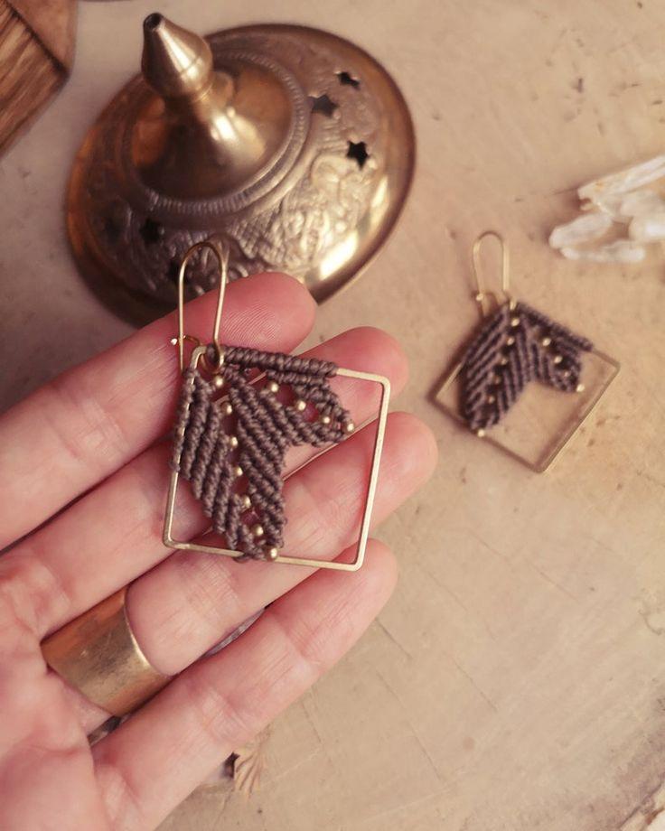 macrame earrings lankini taupe leaves sqaure etsy in 2021 macrame earrings earrings earring s