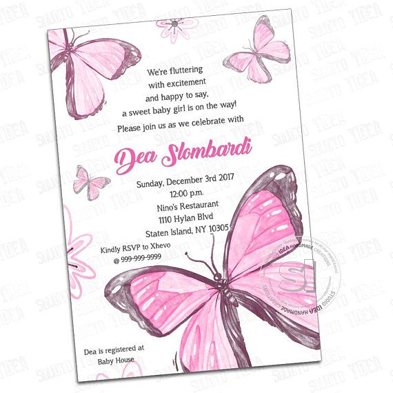 Customized Printable Butterflies Invitation-Baby Shower