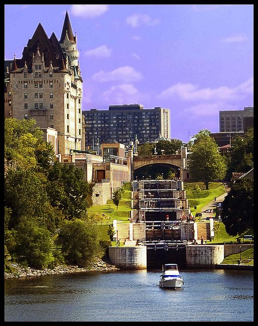 The eight locks of the Rideau Canal. Ottawa, Ontario ~ North America's oldest operating 19th-century canal