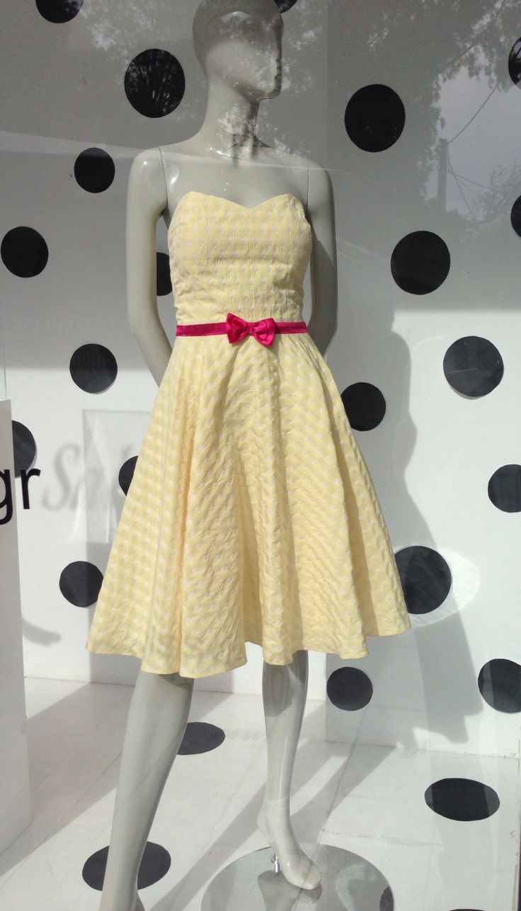 Amarisso New York Polka Dot strapless dress in silk taffeta in yellow/ivory. Available in powder blue/ivory and lt.pink/ivory.