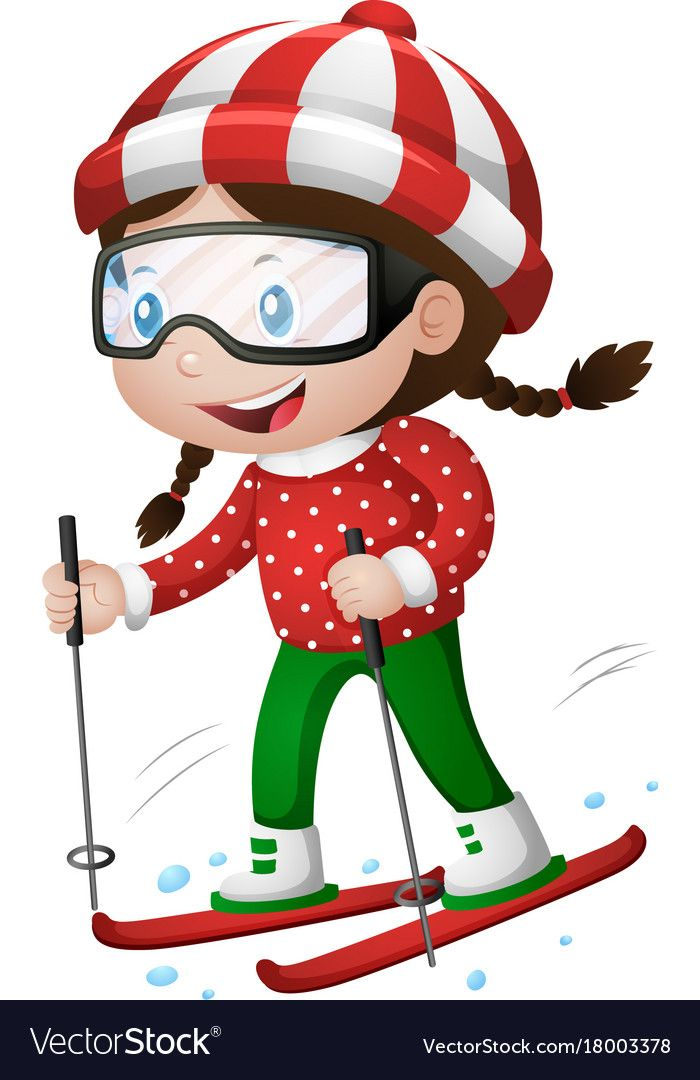 Little Girl Playing Ski Illustration Download A Free Preview Or High Quality Adobe Illustrator A Kids Art Projects Montessori Toddler Activities Kids Graphics
