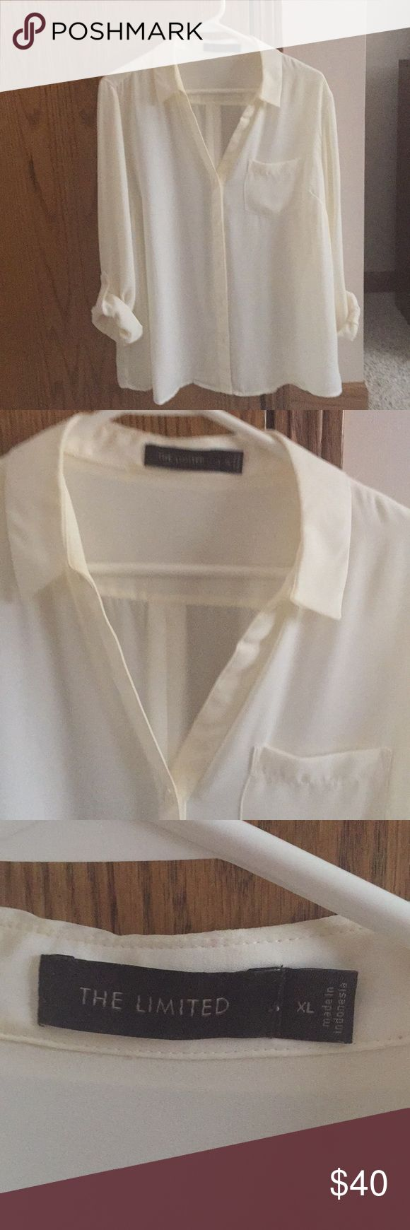 The Limited Brand Cream Button Down blouse Like new worn once! Size XL The Limited Tops Button Down Shirts