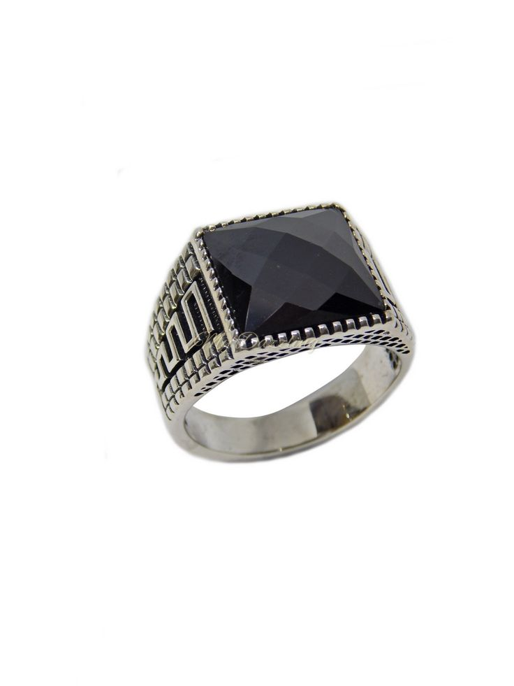 Excited to share the latest addition to my #etsy shop: Man Sterling Silver ring with faceted cubic zirconia stone http://etsy.me/2DMc53z #jewelry #ring #squareprincess #no #cubiczirconia #black #silver #men #silverring