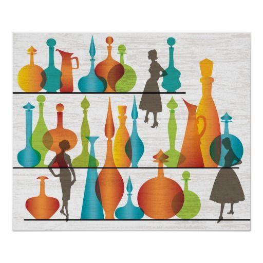 Mid Century Modern Blenko Vases Print
