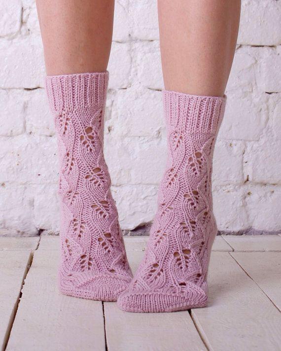 Knitted sock Pink wool sock Hand knit socks Lace by MyCharmingWool