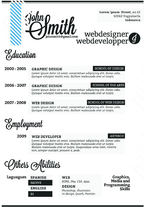65 best Creative resume templates images on Pinterest Creative - web design resume template